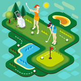 Golf Match People Isometric. Golf Sport Match Concept. Interacting People Unique Isometric Realistic Poses. NEW bright palette 3D Flat Vector Illustration. Golf Stock Photo