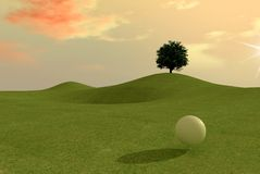 Golf match at sunset. Digital artwork Royalty Free Stock Images
