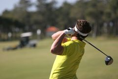golf men swing Royaltyfria Bilder