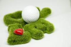Golf met liefdebrief op witte achtergrond Stock Afbeelding