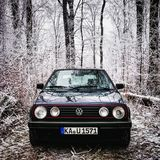 Golf mk2 winter. Golf mk2 in a forest Stock Photos