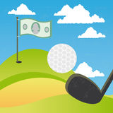 Golf of money. Illustration of the concept of a golf of money. The grunge texture is removable from the background Stock Photos