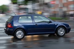 Blue car in motion, abstract background royalty free stock photo