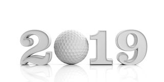 Golf 2019. New year 2019 isolated on white background. 3d illustration. Golf 2019. New year 2019 with golf ball isolated on white background. 3d illustration Royalty Free Stock Photography