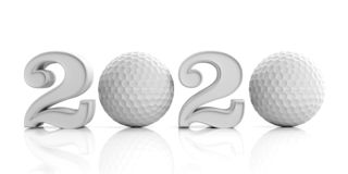 Golf 2020. New year 2020 isolated on white background. 3d illustration