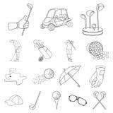 Golf och attribut skisserar symboler i uppsättningsamlingen för design Rengöringsduk för materiel för golfklubb- och utrustningve stock illustrationer