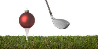 Golf ornament. Christmas golf-ball  on a white background Stock Images