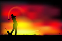 Golf på solnedgången royaltyfri illustrationer