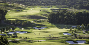 Golf. Panoramic view of a well groomed golf course Royalty Free Stock Images