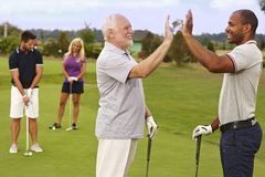 Golf partners celebrating good shot. Golf partners happy for good shot on the green royalty free stock photo