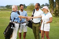 Golf partners shaking hands. On the fields, smiling happy royalty free stock photo