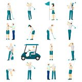 Golf People Flat Set royalty free illustration