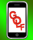 Golf On Phone Means Golfer Club Or Golfing Royalty Free Stock Photography