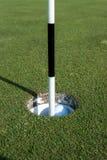 Golf Pin Marks ett hål på den sättande gräsplanen Royaltyfri Foto