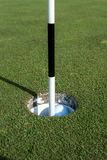 Golf Pin Marks a Hole on the Putting Green. A black and white golf pin and golf ball sit in the hole of a well landscaped putting green royalty free stock photo