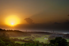 Golf place and sunset. Golf place with beautiful sunset Stock Photo