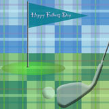 Golf on Plaid / Happy Fathers Day. Father's day greeting with golf theme Stock Image