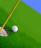 Golf play. Golf course green and ball closeup Stock Photography