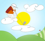 Golf player. In the sky Stock Photo
