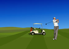 Golf Player. Heating a ball with the golf cart on the background Stock Images