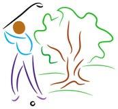 Golf player. Brush stroke illustration stock illustration