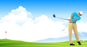 Golf player. Silhouette of a man playing golf in a field of grass Royalty Free Stock Photo