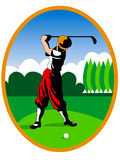 Golf player. Illustration of a old golf player in action Stock Photos