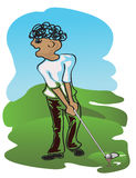 Golf player. In action, in expressive style illustration Royalty Free Stock Image