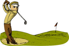 Golf player. Drawn vector illustration of golf player Royalty Free Stock Images