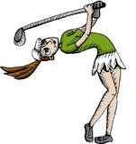 Golf player. Vector illustration of female golf player Royalty Free Stock Photo