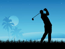 Golf Player. Silhouette  Vector Illustration Stock Image