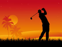Golf Player. Silhouette  Vector Illustration Stock Images