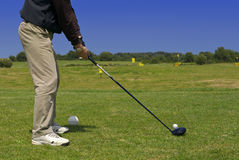 Golf player. A golf player on the green Stock Photography