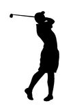 Golf player. Black golf player silhouette with stick after hit Stock Photos