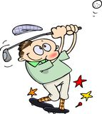 Golf player. Happy male golfer hits a golf ball with his iron club royalty free illustration