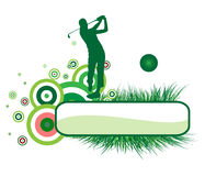Golf player. The golf player on the green banner Royalty Free Stock Photo