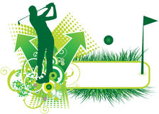 Golf player. The golf player on the green banner Stock Image