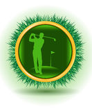 Golf player. The golf player on the green banner Royalty Free Stock Photos