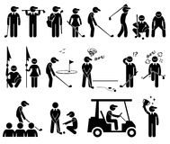 Golf Player Actions Poses Cliparts. A set of stickman representing the sports of golf player actions and poses Stock Photo
