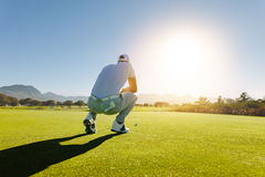 Golf player aiming shot on course. Rear view of golf player aiming shot on course. Pro golfer on field during game Royalty Free Stock Images