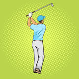 Golf player with bat pop art style vector Stock Photo