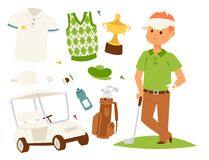 Golf player clothes and accessories golfing club male swing sport hobby equipment vector illustration. Golf player clothes and accessories vector illustration Stock Images