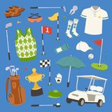 Golf player clothes and accessories vector illustration. Golfing club male outdoor game player. Different swing sport. Hobby equipment golf vector set Royalty Free Stock Photo
