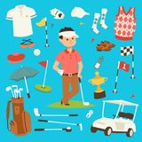 Golf player clothes and accessories vector illustration. Golfing club male outdoor game player. Different swing sport. Hobby equipment golf vector set Royalty Free Stock Image