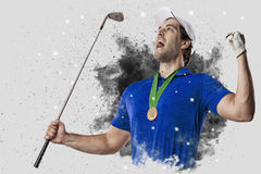 Golf Player coming out of a blast of smoke Royalty Free Stock Photos