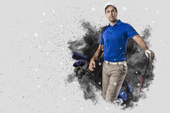 Golf Player coming out of a blast of smoke Stock Photo
