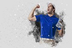 Golf Player coming out of a blast of smoke Royalty Free Stock Image