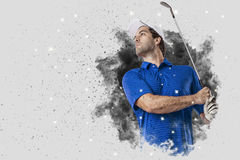 Golf Player coming out of a blast of smoke Royalty Free Stock Photo