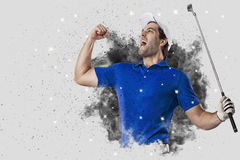Golf Player coming out of a blast of smoke Stock Images