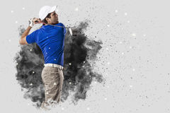 Golf Player coming out of a blast of smoke Stock Photography